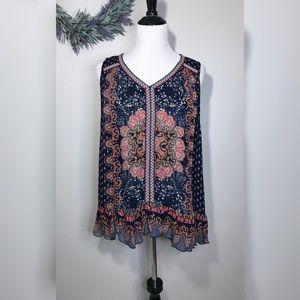 Bios Boho Ruffle Sleeveless Top NWOT